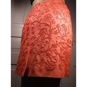 VINTAGE Designer silk embroidered textured skirt